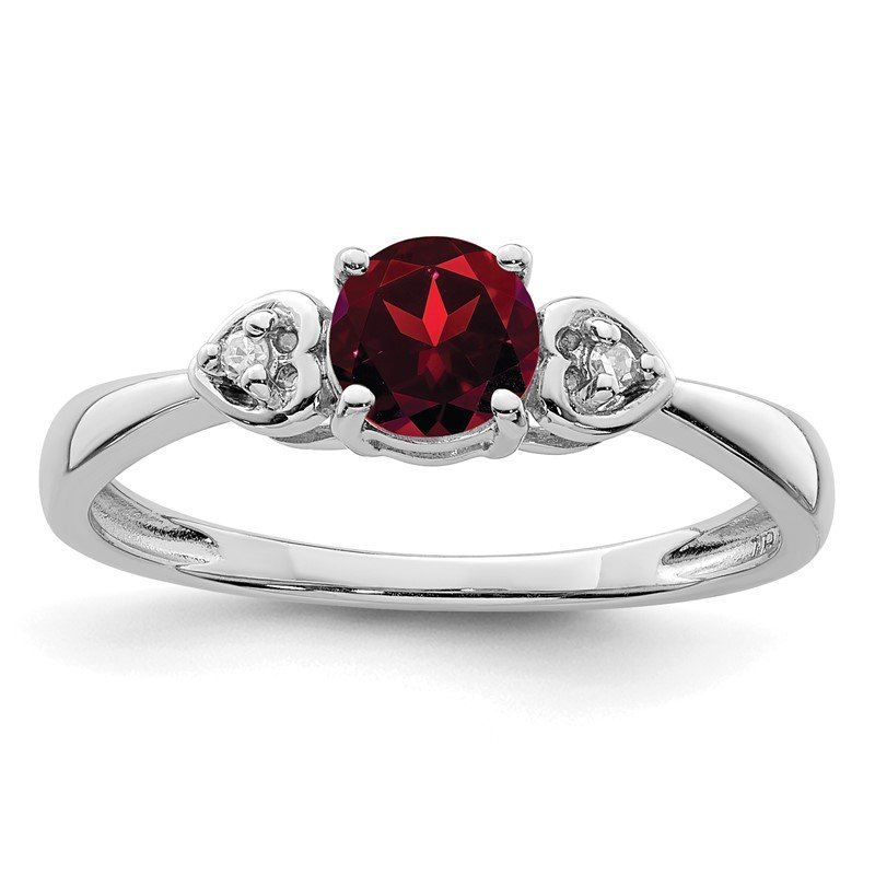 Quality Gold Sterling Silver Rhodium Plated Diamond and Garnet Ring