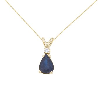 14k Yellow Gold  Pear Shaped Sapphire and Diamond Oval Pendant