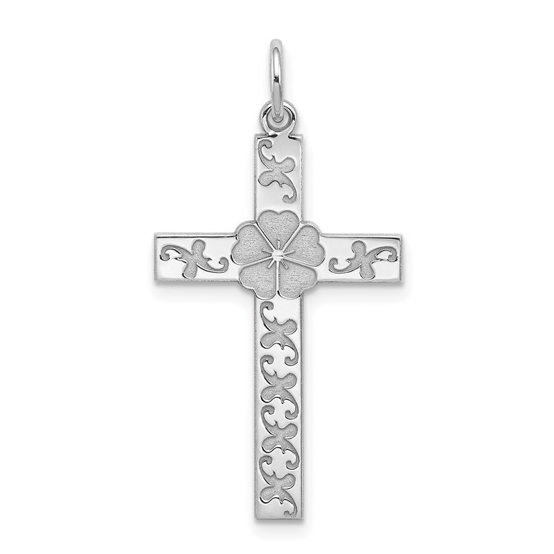 Quality Gold Sterling Silver Rhodium-plated Laser Designed Cross Pendant