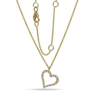 "14K gold & diamond heart necklace 0.11C TW 18"" chain"