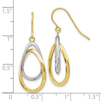 Leslie's 10k Two-tone Polished Shepherd Hook Dangle Earrings