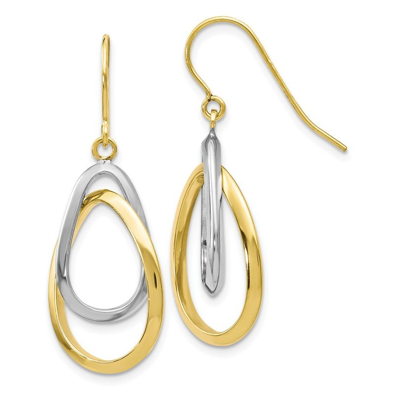 Leslie's Leslie's 10K Two-tone Polished Shepherd Hook Dangle Earrings