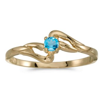 14k Yellow Gold Round Blue Topaz Ring