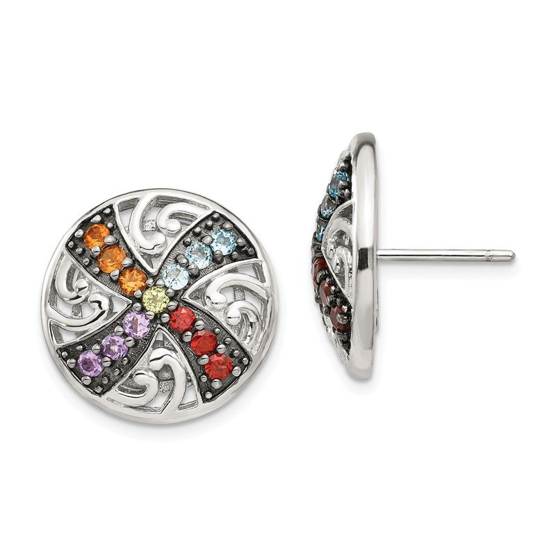 Shey Couture Sterling Silver w/ Black Rhodium Multi Gemstone Post Earrings
