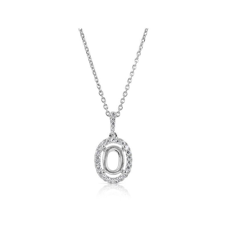 S. Kashi  & Sons Diamond Pendant For 7X5mm oval Center
