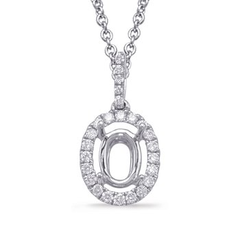 Diamond Pendant For 7X5mm oval Center