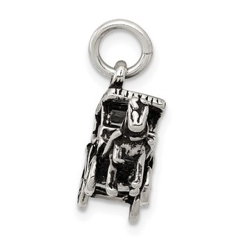 Sterling Silver Antiqued Horse and Carriage Charm