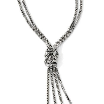 Leslie's Sterling Silver Polished Multi-strand Bead Dangle Knot Necklace