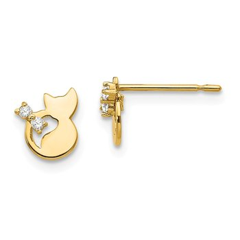 14k Madi K CZ Children's Cat Post Earrings