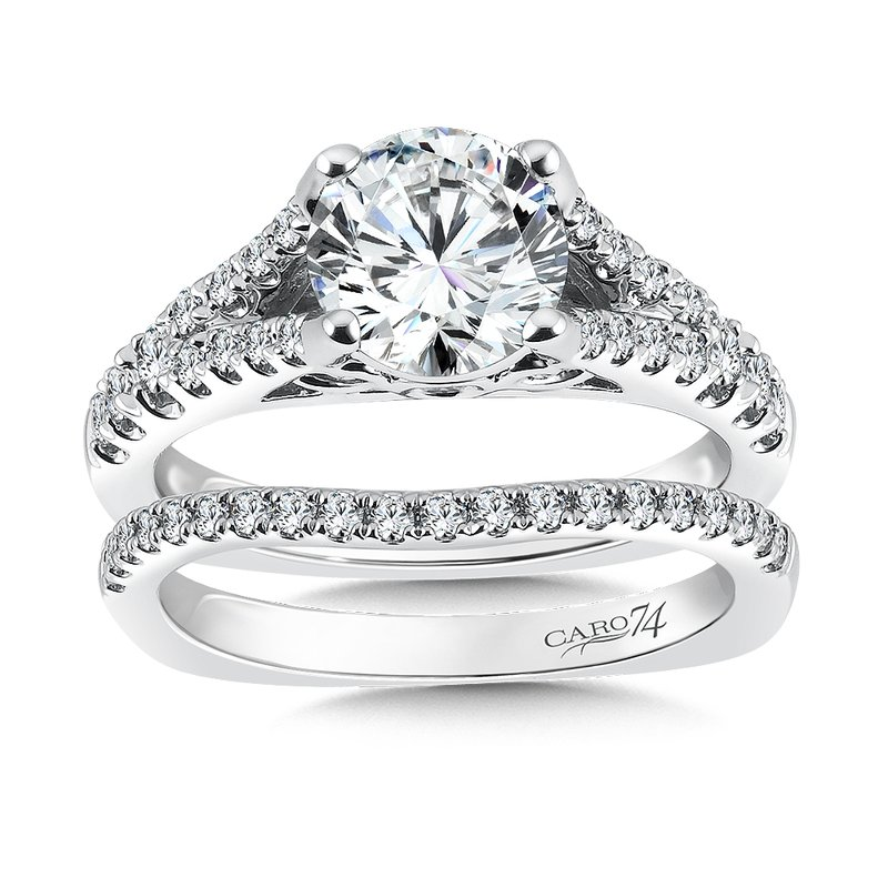 Classic Elegance Collection Split Shank Engagement Ring in 14K White Gold (1-1/2ct. tw.)