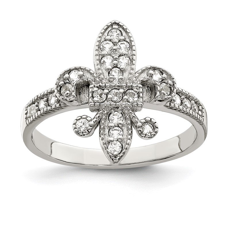 Quality Gold Sterling Silver CZ Fleur-de-lis Ring