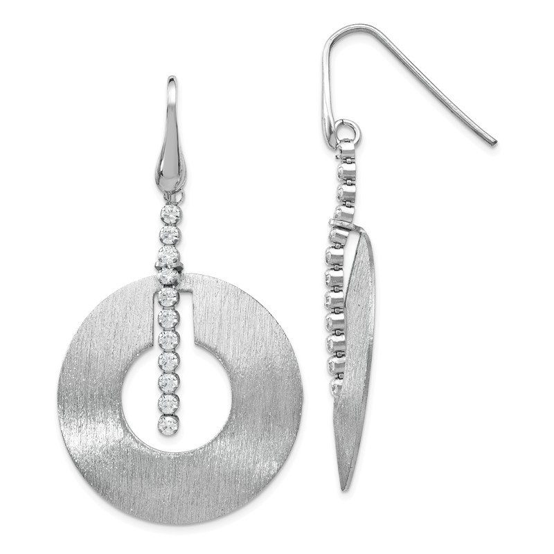 Leslie's Leslie's Sterling Silver Scratch-finish CZ Dangle Earrings