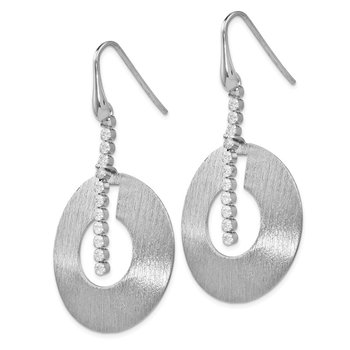 Leslie's Sterling Silver Scratch-finish CZ Dangle Earrings