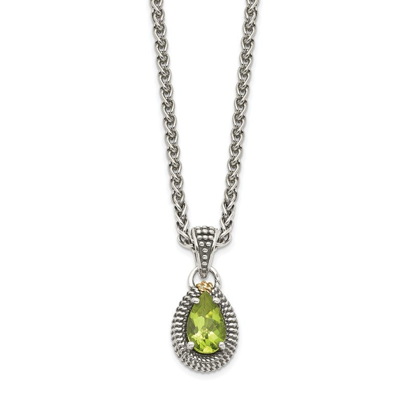 Fine Jewelry by JBD Sterling Silver w/14ky Peridot Pear Shaped Necklace