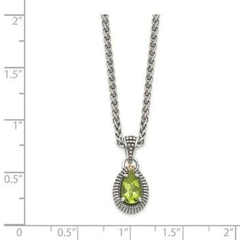 Sterling Silver w/14ky Peridot Pear Shaped Necklace
