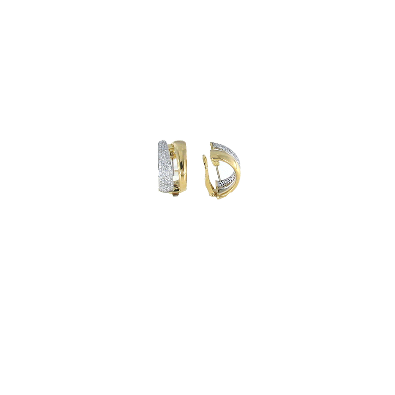 Roberto Coin  #26024 Of 18Kt Gold 2 Row Diamond Earrings