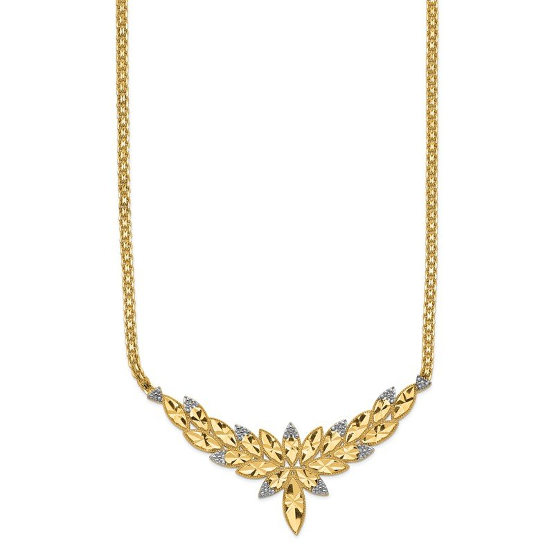 Quality Gold 14k w/Rhodium Solid Polished Diamond-cut Open-Back Fancy 18in Necklace