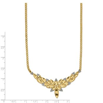 14k w/Rhodium Solid Polished Diamond-cut Open-Back Fancy 18in Necklace