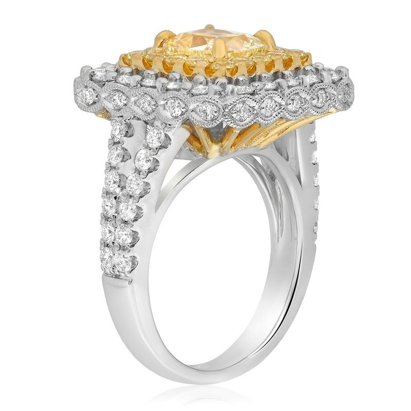 Roman & Jules Cushion Cut Double Halo Yellow Diamond Ring