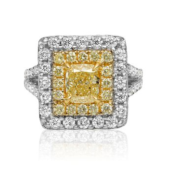 Cushion Cut Double Halo Yellow Diamond Ring