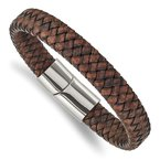 Chisel Stainless Steel Polished Brown Leather 11.50mm 8.5in Bracelet