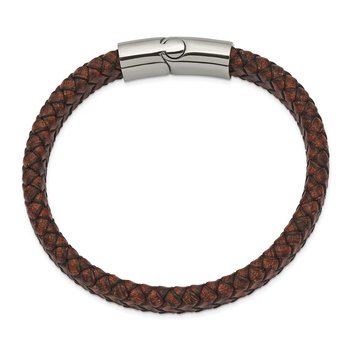Stainless Steel Polished Brown Leather 11.50mm 8.5in Bracelet