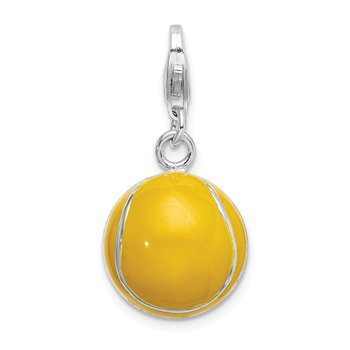 Sterling Silver RH Polished Enamel Tennis Ball w/ Lobster Clasp Charm