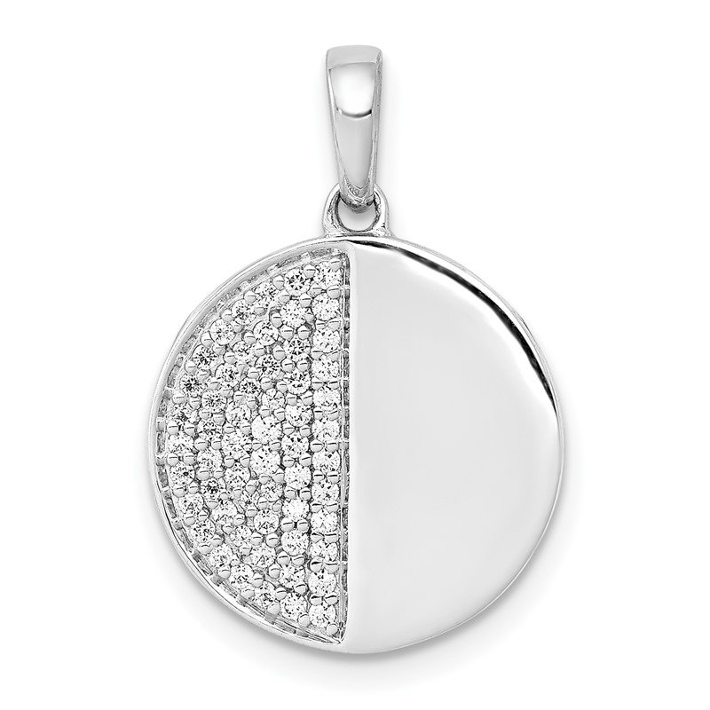 Quality Gold 14k White Gold 1/4ct. Diamond Fancy Half and Half Circle Pendant