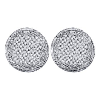 10kt White Gold Womens Round Pave-set Diamond Circle Cluster Stud Earrings 1.00 Cttw