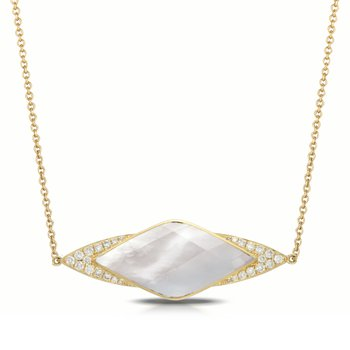 White Orchid Diamond Necklace 18KY