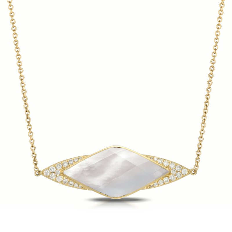 Doves White Orchid Diamond Necklace 18KY