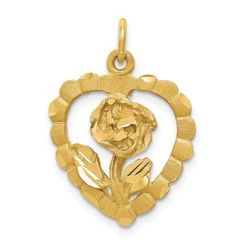 14K Polished and D/C Flower in Heart Pendant