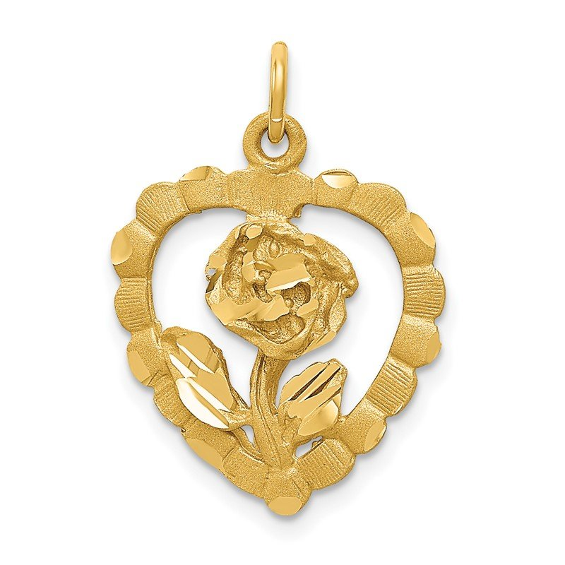 Quality Gold 14K Polished and D/C Flower in Heart Pendant