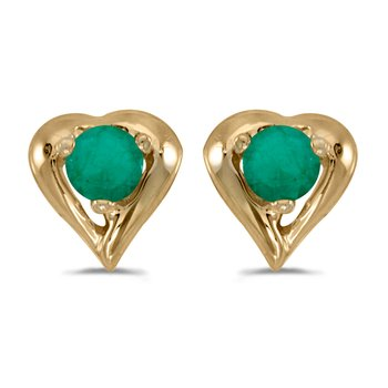 10k Yellow Gold Round Emerald Heart Earrings