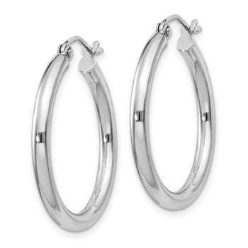Sterling Silver Rhodium-plated 2.5mm Round Hoop Earrings