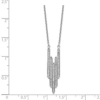Sterling Silver Rhodium-plated CZ Bars w/1in ext Necklace