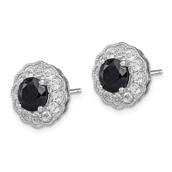 Sterling Silver Rhodium-plated Black Sapphire & White Topaz Post Earrings