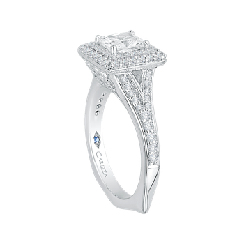 18K White Gold Cushion Diamond Double Halo Engagement Ring with Split Shank (Semi-Mount)