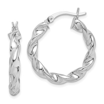 Sterling Silver Rhodium Plated Twisted 3.5x25mm Hoop Earrings