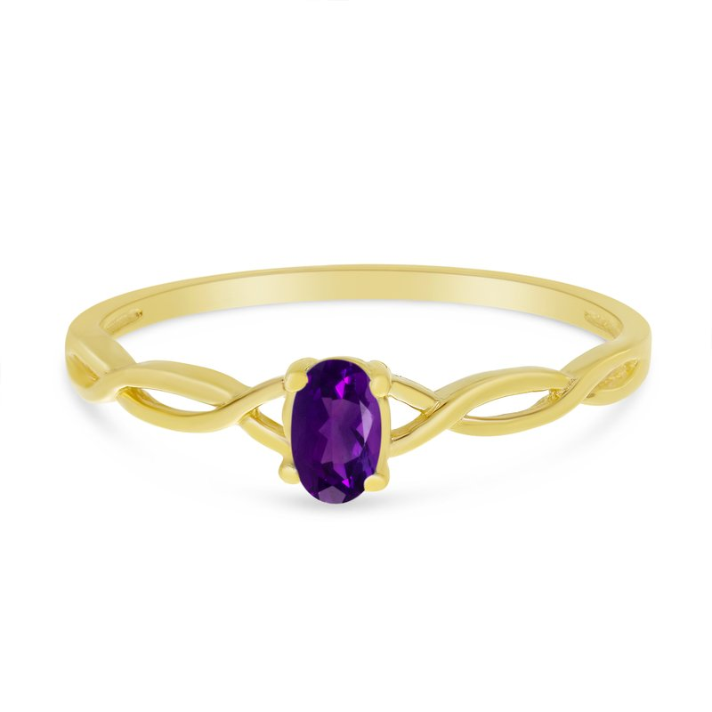 Color Merchants 10k Yellow Gold Oval Amethyst Ring