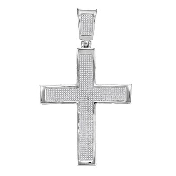 10kt White Gold Mens Round Diamond Roman Cross Charm Pendant 1-3/8 Cttw