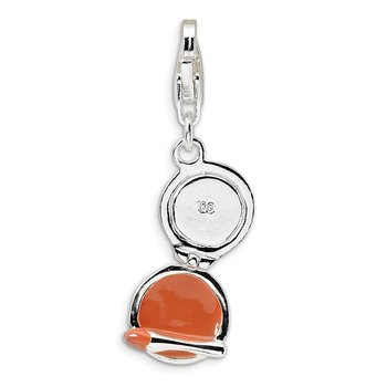 Sterling Silver Enamel Compact Makeup Mirror w/Lobster Clasp Charm