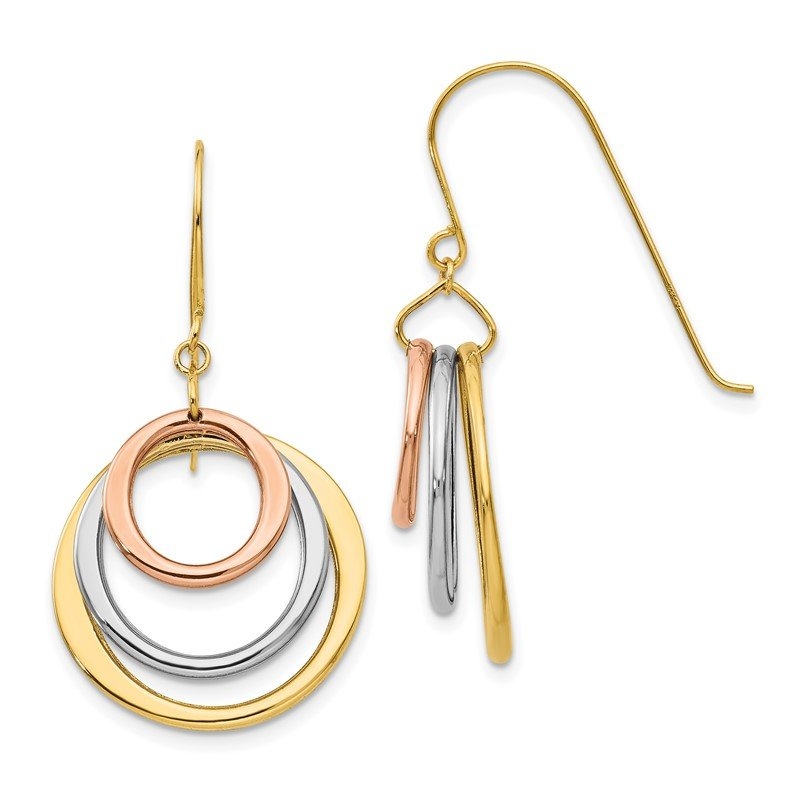 Quality Gold 14K Tri-color Circle Dangle Shepherd Hook Earrings