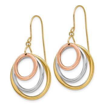 14K Tri-color Circle Dangle Shepherd Hook Earrings