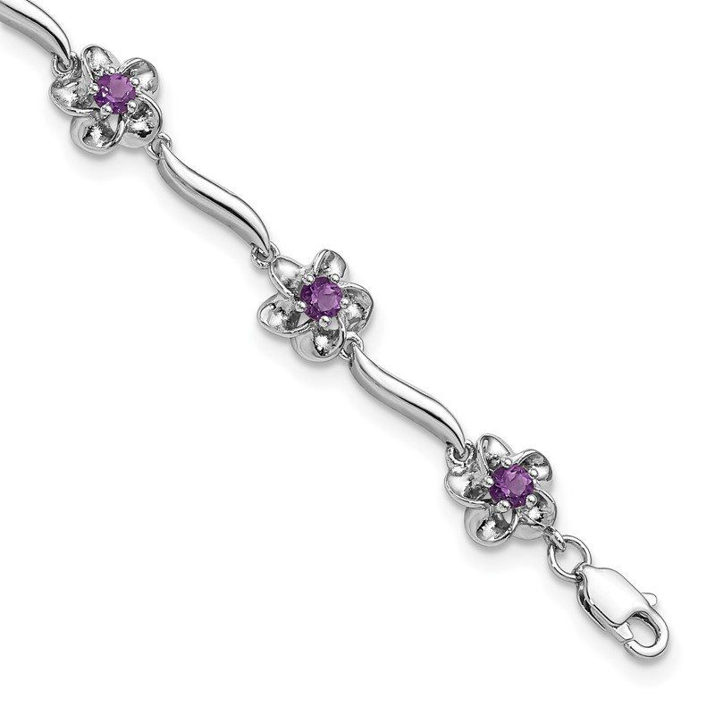 Quality Gold Sterling Silver Rhodium-plated Floral Amethyst Bracelet