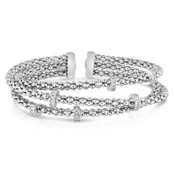 Sterling Silver Triple Row Crossover Diamond Popcorn Cuff