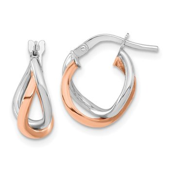 14k White & Rose Gold Fancy Hoops