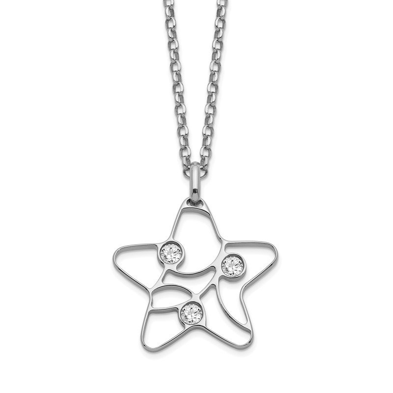 Quality Gold Sterling Silver CZ Star Necklace