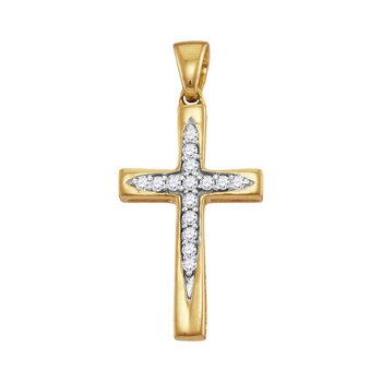 10kt Yellow Gold Womens Round Diamond Christian Cross Pendant 1/10 Cttw