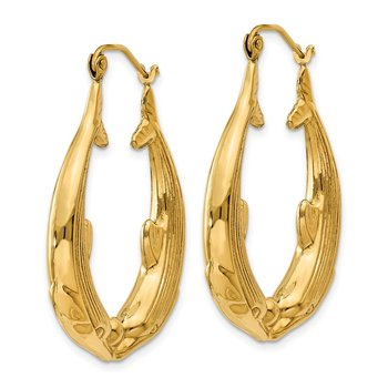 14k Polished Dolphin Hoop Earrings
